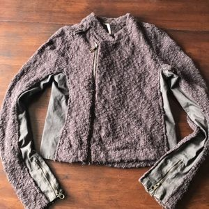 Free People Moto Zip Sweater